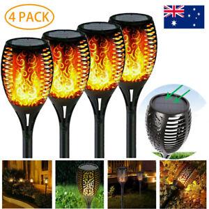 4X 12 LED Solar Flickering Torch landscape Lamp Dancing Flame Garden Path Light