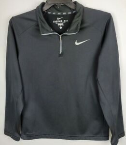 Nike Therma Fit Mens Size Medium Black Fleece 1/4 Zip Pullover Long Sleeve Shirt