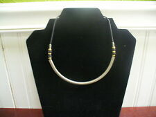 "Vintage Goldtone Metal Black Cord Curved Pewter Tube Pendant 15"" Necklace"