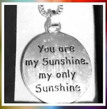"YOU ARE MY SUNSHINE Necklace Silver Tone 16"" Includes Gift Box! Teens/ Ladies"