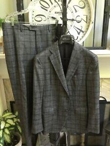 PAL ZILERI Sartoriale Blue Label men's suit gray w/purple plaid 54R US 42R 42L