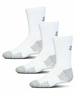 Under Armour NWT Youth Small 13.5K-4Y Crew Socks 3 Pack White Heatgear Trainιng