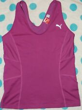 Women's PUMA Cool Medium Support Training Fitness Racerback PURPLE Top Sz L!