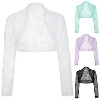 Plus Size Long Sleeve LACE Wedding Jacket Bolero Bridal Dress Shrug Coat Tops