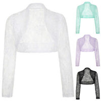 Womens Cropped Lace Shrug Ladies Bolero Plus Size Long Sleeve Cardigan Top