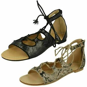 Ladies Spot On Open Toe Snake Print Zip and Lace Up Flat Summer Sandals : F0R964