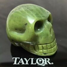 "2"" Jade Skull Figurine Carved Crystal Polished Natural Stone Green Pocket Size"