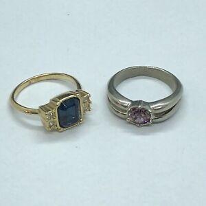 2 x Beautiful White & Yellow Metal Rings, SIZE K (JW7)