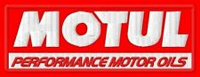 "MOTUL PERFORMANCE MOTOR OILS EMBROIDERED PATCH~4""x 1-1/2"" MOTORCYCLE OIL MOTO GP"