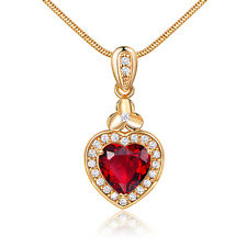Heart Ruby Red Sapphire 18K Yellow Gold Filled Drop Pendant Women Lady Necklace