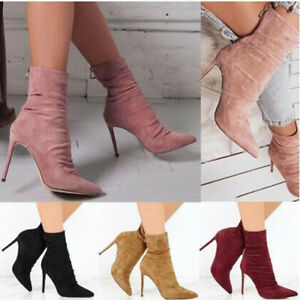 Womens Pointed Toe High Heel Stilettos Ankle Boots Zip Slim Stretch Winter Shoes