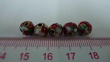 Metal beads, Cloisonne Beads, Enamel Necklace Spacer Decoration Charm 8mm 15pcs