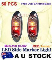 50X Red Amber Multivolt Side Light LED Marker Truck Clearance Oval base AU