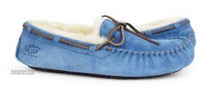UGG Dakota Blue Jay Fur Slippers Womens Size 9 *NEW*