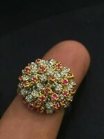 2 Cts F/VS1 Ronde Brillante Couper Diamants Rubis Cocktail Bague En 750 18K Or