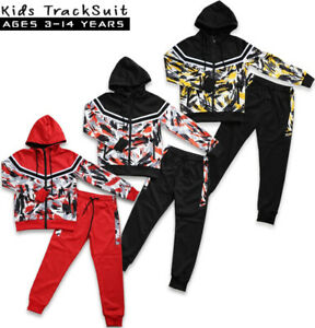 Kids Boys Junior Tracksuit Camo Style Hooded Jogging Bottoms And Hoodie 3 Colors