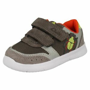 Boys Clarks Light Weight Hook & Loop Leather & Textile Shoes Ath Glow T