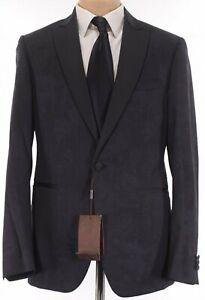 Etro NWT Tuxedo In Black W/ Tonal Floral Paisley & Grosgrain Lapel Sz 44R $2,395