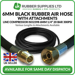 """6mm 1/4"""" Black Rubber Air Hose Line Compressor Water ISO2398 with Attachments"""