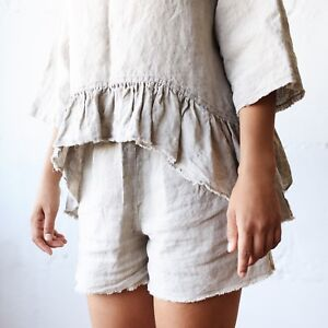 LINEN PAJAMA SET shorts and top 100% flax pure organic FLAX linen plus size top