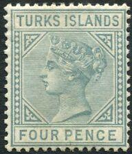 TURKS ISLANDS-1884 4d Grey Sg 57 MOUNTED MINT V36035