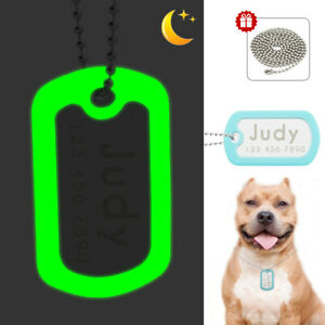 Reflective Silencer Dog Tags Pet Name Personalized for Dogs Engraved with Chain