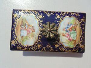 Antique Ambrosius Lamm Dresden HP Porcelain Metal Ink Blotter Watteau Gold Trim