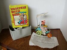 Vintage TIN LITHO Clown on Trycycle with Bell WINDUP Mint in Box -- WORKS!