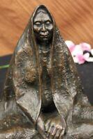 Signed Original Native American Wise Elder Bronze Sculpture Marble Base Lost Wax