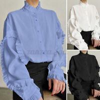 Women Plus Size Ruffle Neck Top Tee Blouse Victorian Formal OL Button Down Shirt