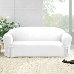 Designer cotton duck Sofa Slipcover in White 1PC Box Style Seat Cushion Sure Fit