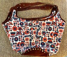 FAB LUCKY BRAND LARGE TOTE BAG, FLORAL CANVAS W/SUEDE TRIM, BOHO-CHIC--FREE SHIP
