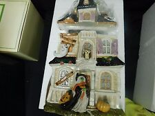 FITZ & FLOYD HALLOWEEN HARVEST HAUNTED HOUSE COOKIE JAR WITCH GHOST  NIB