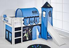 Juego de cama alta JELLE 190x90 BLANCO CON TORRE + Tobogán lilokids Star Wars