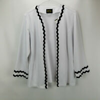Bob Mackie Rick Rack Rib Knit Jacket White M A305612
