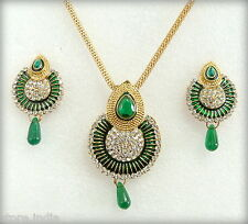 Ethnic Indian Gold Plated Green Chain Pendant Necklace Earring Jewelry Set
