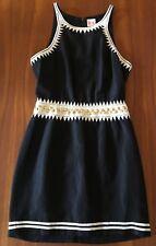 Sass & Bide Black White Peek A Boo Silk Line Gold Stud Embroidered Waist Dress 8