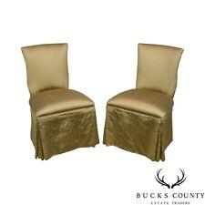 Custom Pair of Catania Dobby Lattice Silk Upholstered Boudoir Slipper Chairs