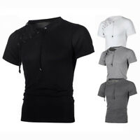 Fashion Men's Muscle Tee Shirt T-Shirt Slim Fit Short Sleeve Summer Casual Tops