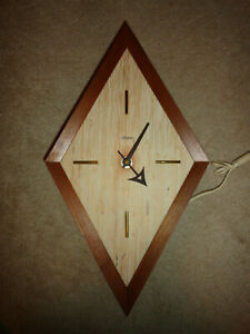 Vintage Sessions Mid Century MOD Wood Diamond Shaped Electric Wall Clock
