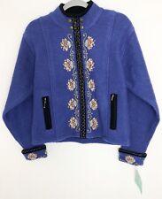 NWT Icelandic Design  Zip Up Jacket Cardigan Sweater 100% Wool Size Small