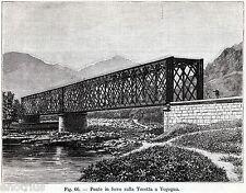 VOGOGNA: Ponte sulla Tocetta. Val d'Ossola.Verbania.Piemonte. Stampa Antica.1891