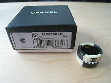 Vintage  CHANEL Ring Black & Ivory 02A in Box sz 6.5 US 53 w/ Receipt