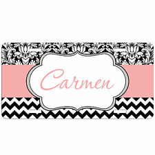 Personalized Monogrammed Car Tag License Plate Chevron Damask Pink Monogram
