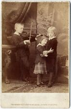 SISTERS   BOY WITH VIOLIN BY NOTMAN BOSTON, MASS CABINET PHOTO