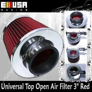 """RED Universal 3"""" 76.2MM Open Top Cold Air Intake Filter Cone Dry Air Filter"""