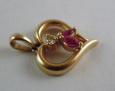 100% Genuine Vintage 18K Solid Yellow Gold Heart Rubies & Diamond Pendant