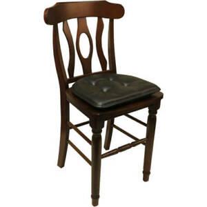 "Set of 2 Gripper Non Slip 15"" x 16"" Faux Leather Tufted Chair Cushion Dark Brown"