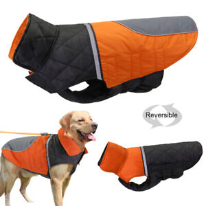 Large Dogs Winter Clothes Reversible Dog Jacket Reflective Waterproof Warm Coat