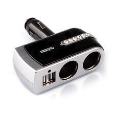 2 USB Charger+2 Socket Car Cigarette Lighter Extender Splitter Silver Beliebt